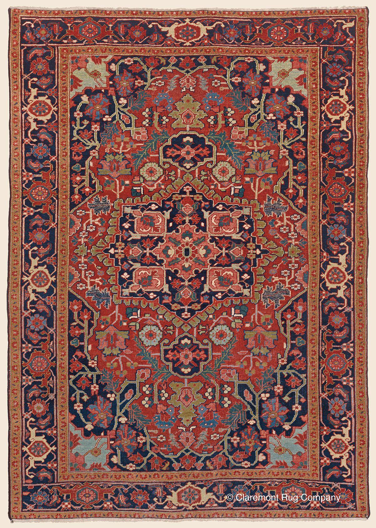 Antique Circa 1900 Northwest Persian High Decorative Serapi Rug 4 9 X 6 11 Claremont Rug Company Serapi Rug Rug Company