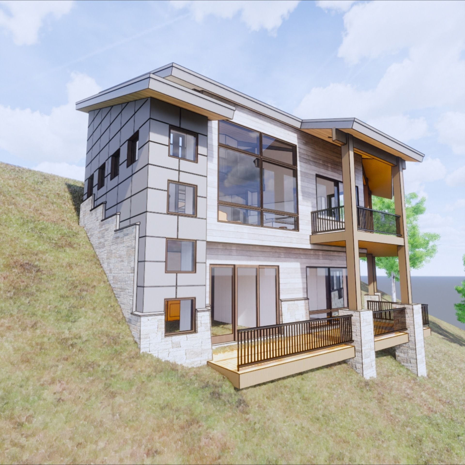 Mountain Modern Steep Slope Sloping Lot House Plan Mountain Home Exterior House Designs Exterior