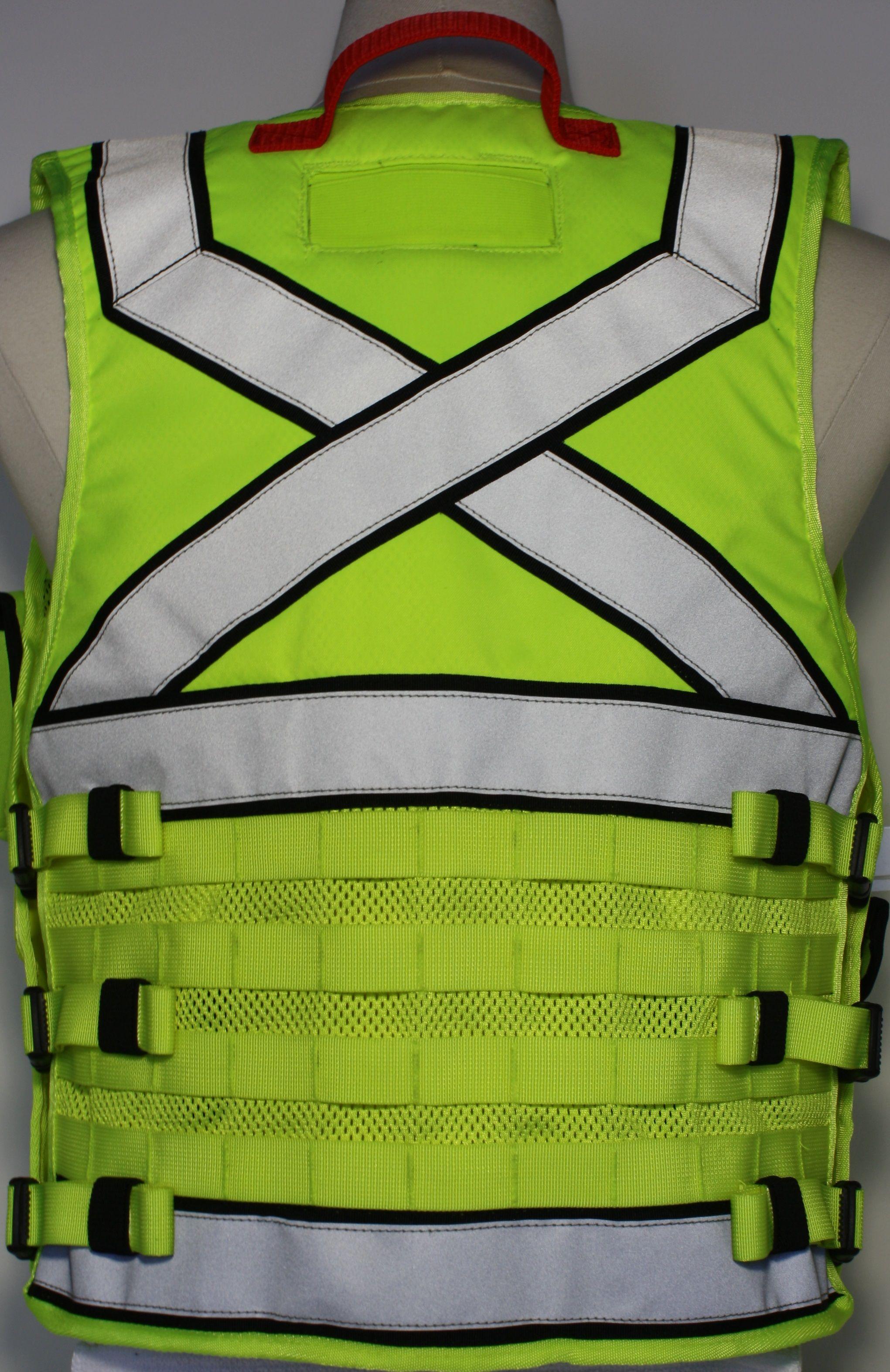 Hi-Viz MOLLE vest, available with X or parallel line configuration. www.dutyapprel.com