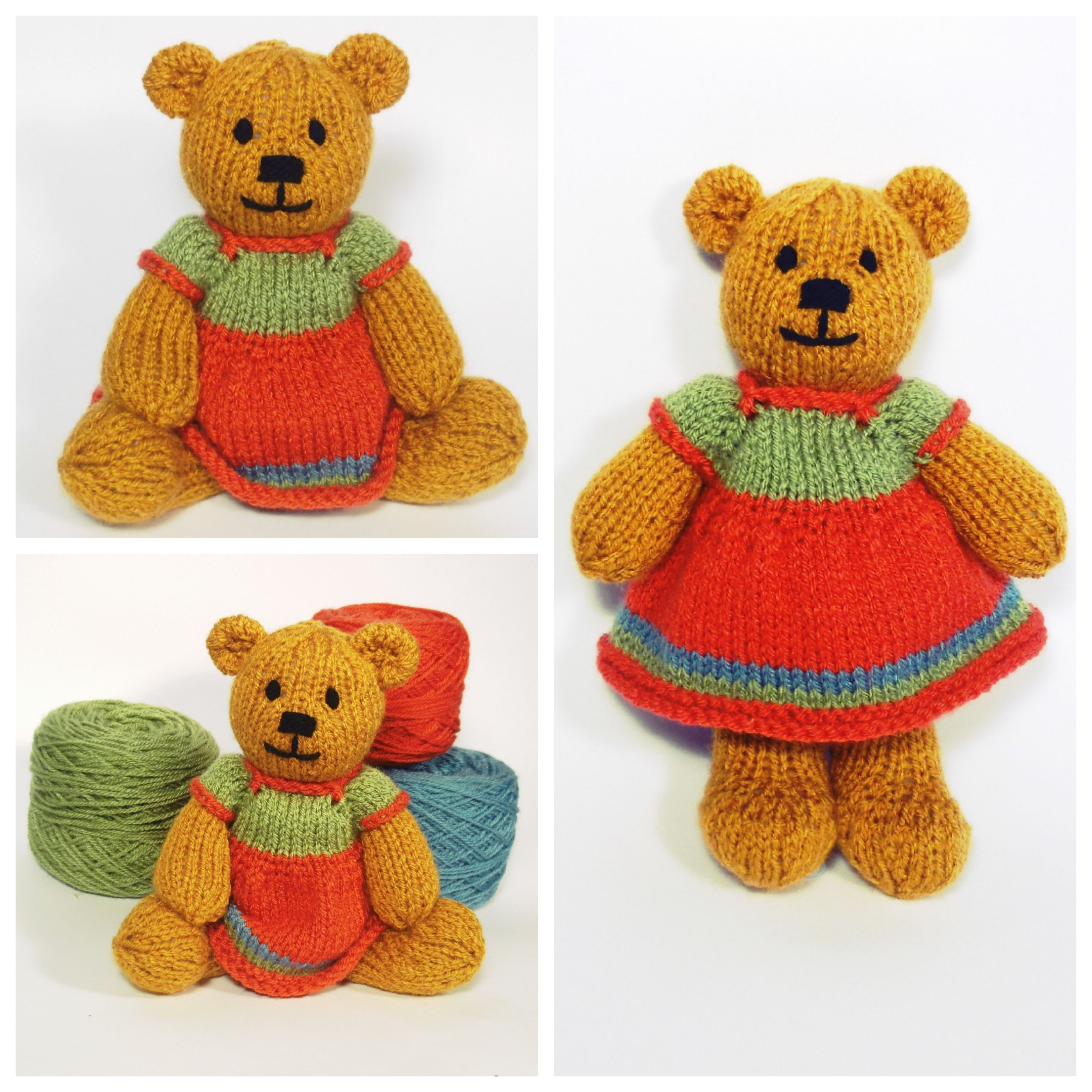 Girl Teddy Bear , Knitting Pattern | Teddy bear knitting ...