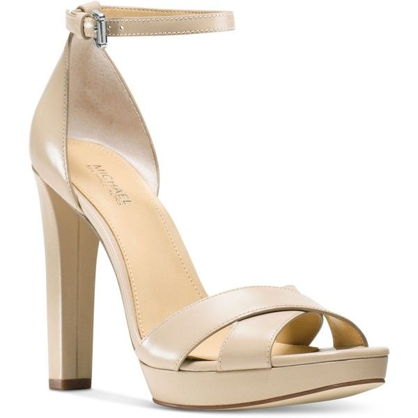 Michael Michael Kors Divia Ankle-Strap Dress Sandals ($145) ❤ liked on Polyvore featuring shoes, sandals, nude, platform shoes, nude platform shoes, ankle strap sandals, michael kors sandals and ankle tie sandals