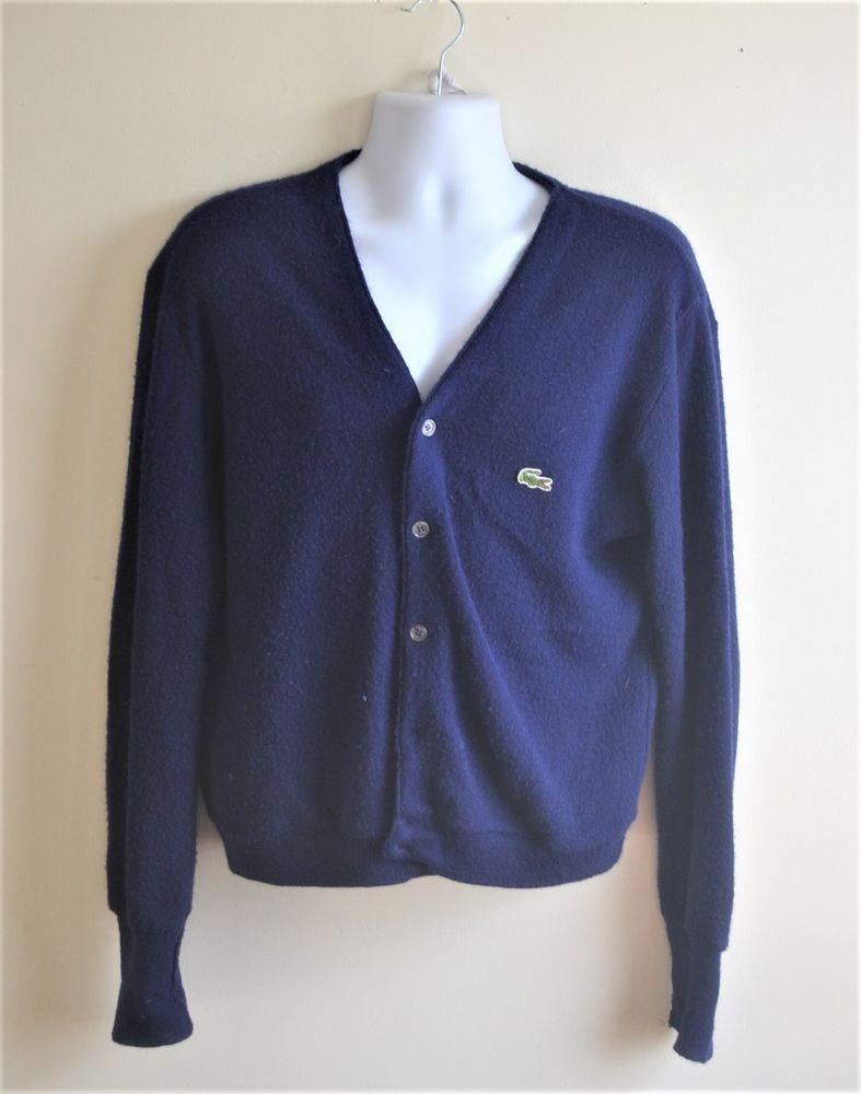 Vintage Lacoste Mens V Neck Acrylic Cardigan Sweater Size Medium #Lacoste #Cardigan