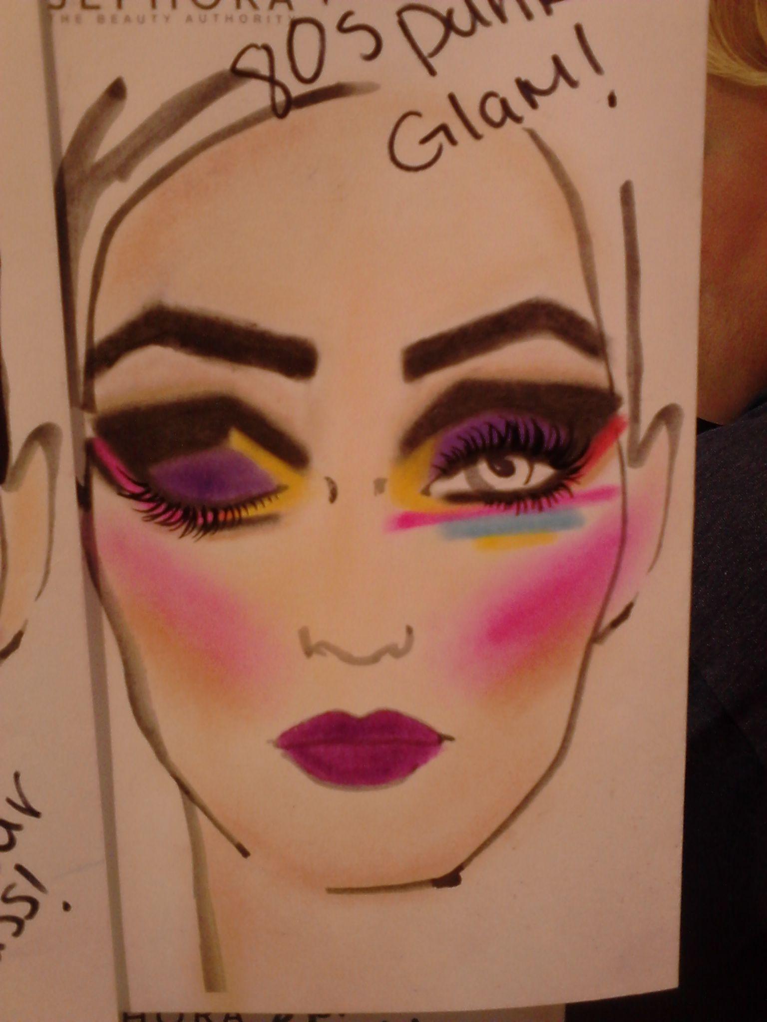 80's punk glam love maquillage