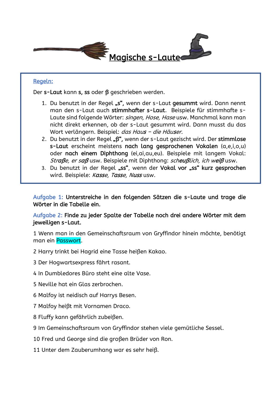 Magische S Laute Unterrichtsmaterial Im Fach Deutsch Rechtschreibubungen Arbeitsblatter Deutsch Zu Beschaftigt