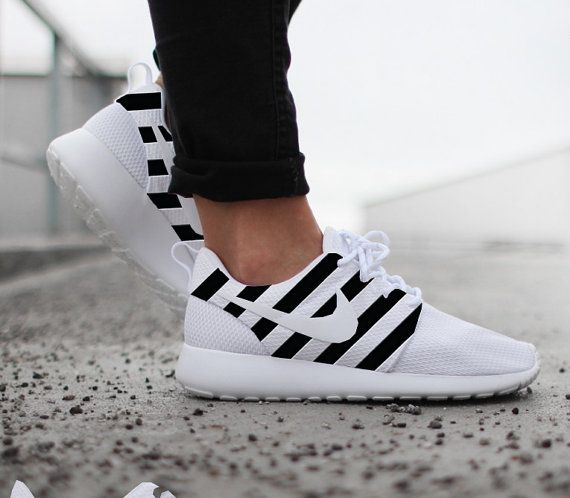 Nike Roshe Run White with Custom Black OFF WHITE Inspired Design Paint 3ebd47beb5