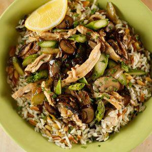 Mushroom Asparagus Chicken Saute With Rice Pilaf Recipe Rachael Ray Omggg