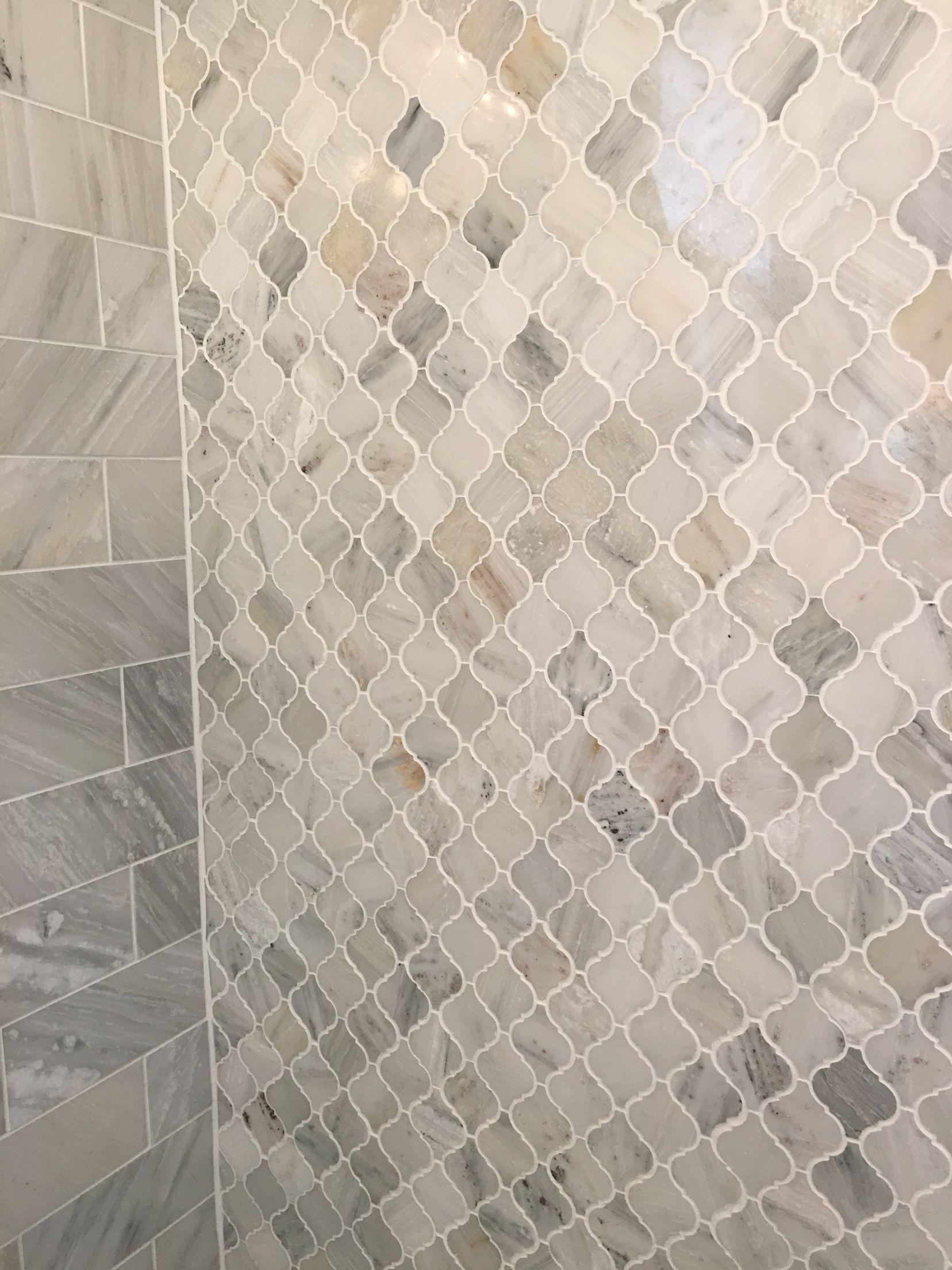 Carrara Marble Arabesque Shower Tiles Shower Tile