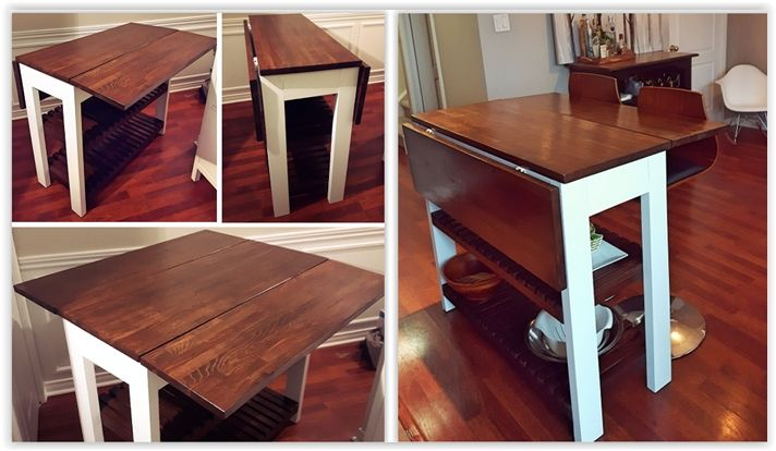 Drop Leaf Kitchen Table Island Bar Cart With Storage Two Folding Table Leafs Which Expand To Diy Kitchen Table Kitchen Table With Storage Bar Table Diy