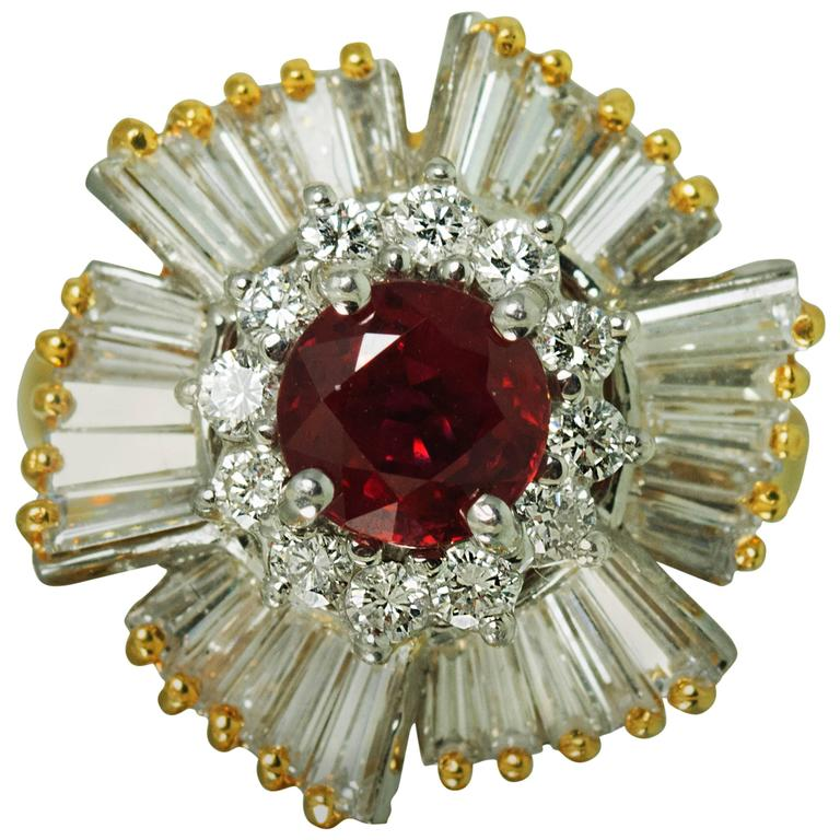 Ruby Diamond Gold Ring    From a unique collection of vintage more rings at https://www.1stdibs.com/jewelry/rings/more-rings/