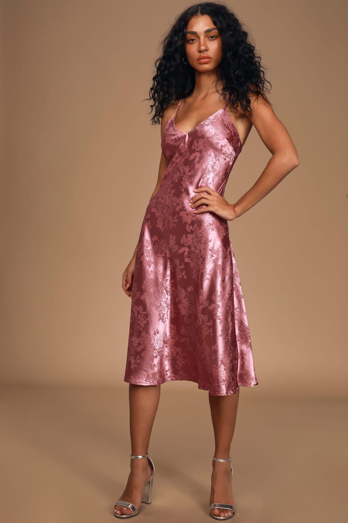 Calla love mauve pink jacquard satin slip dress in 2020