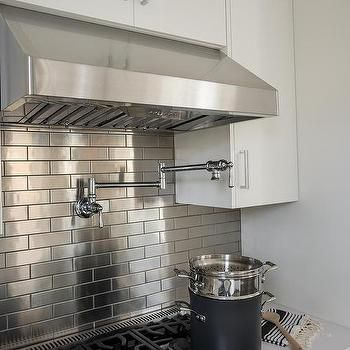 Kitchen With Stainless Steel Mini Brick Tile Backsplash Metallic