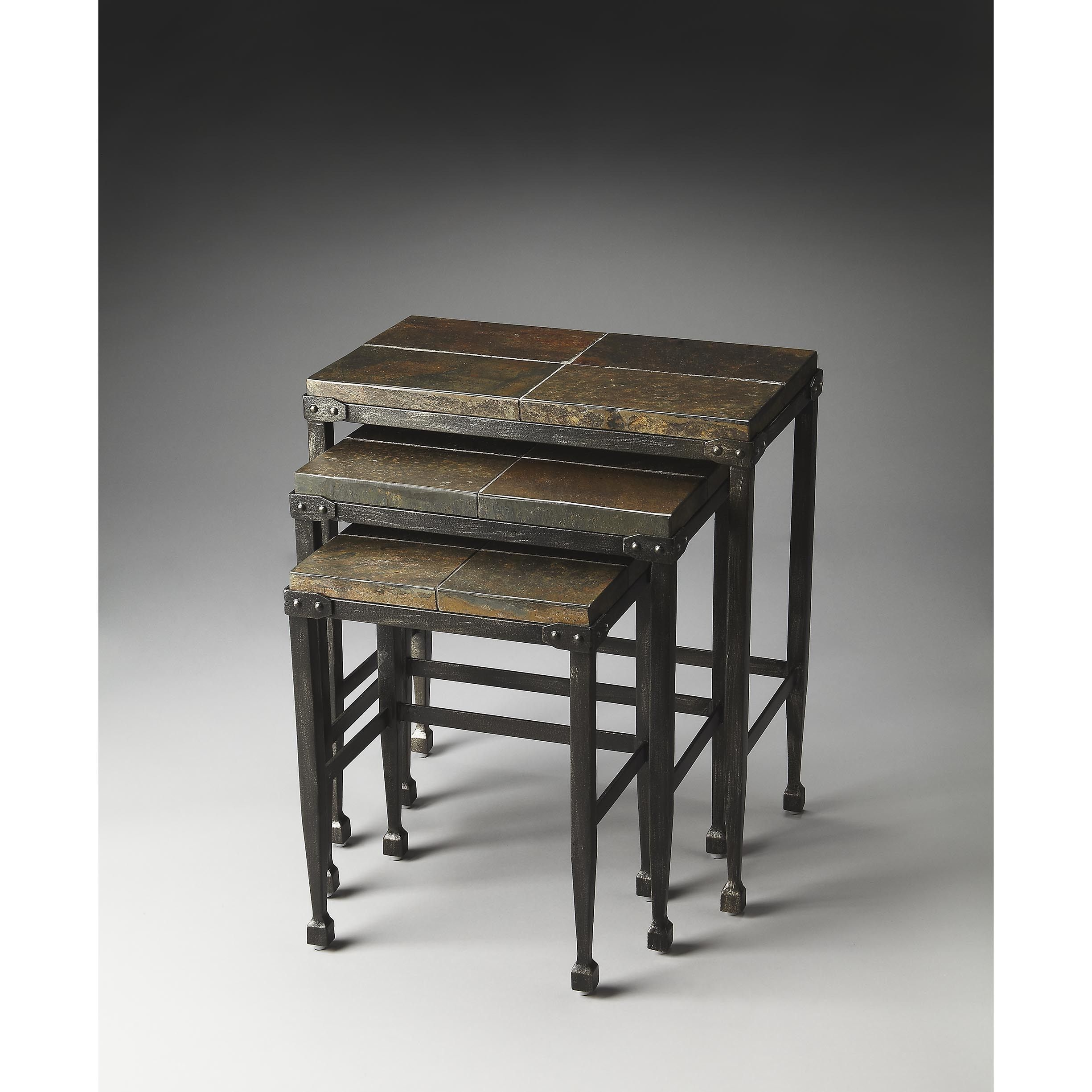 Handmade Butler Burnham Slate & Metal (Grey) Nesting Tables (China)