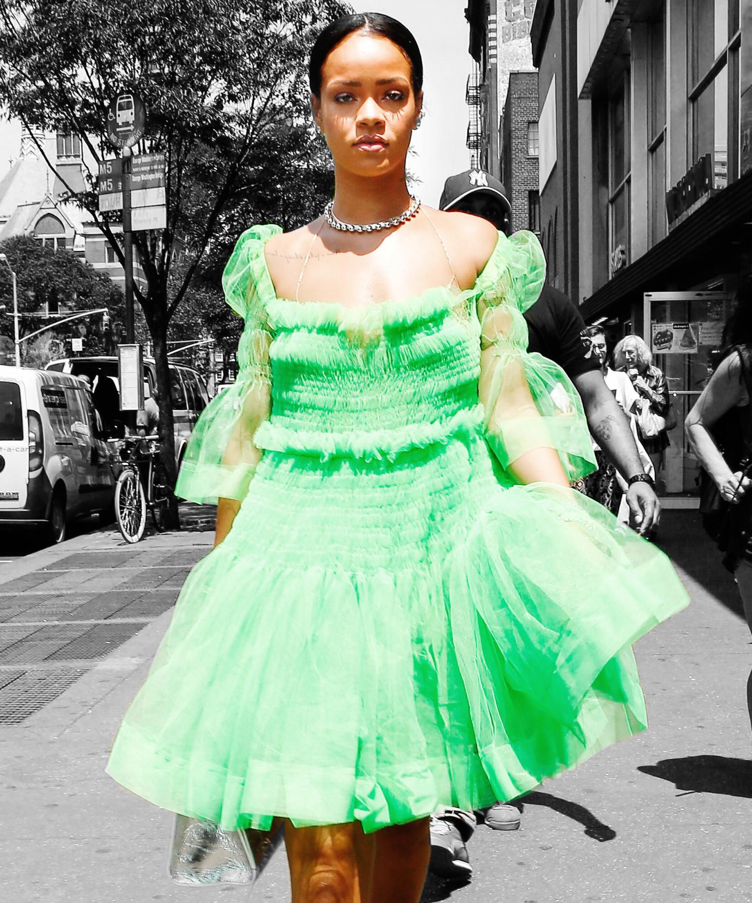 Rihanna S Style Guide For Beating The Heat Rihanna Style Fashion Week Inspiration Green Tutu [ 1836 x 1530 Pixel ]