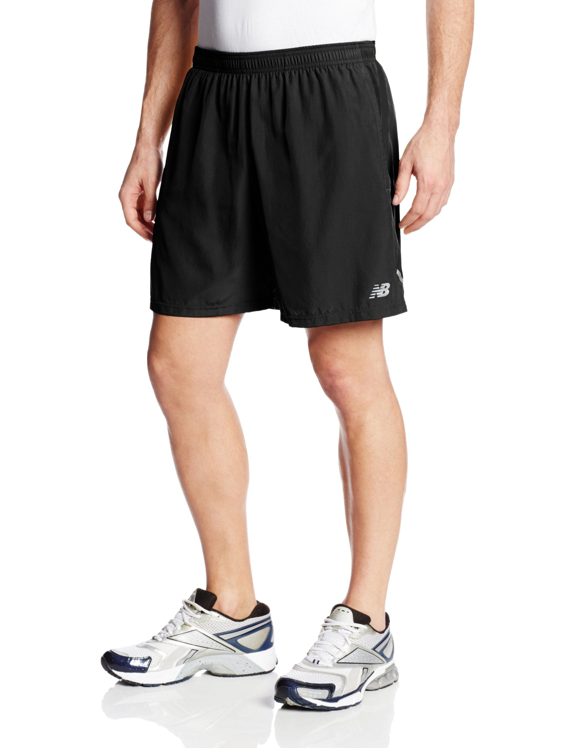 New Balance Men's 7-Inch Go 2 Shorts, Black, Small. Internal Brief
