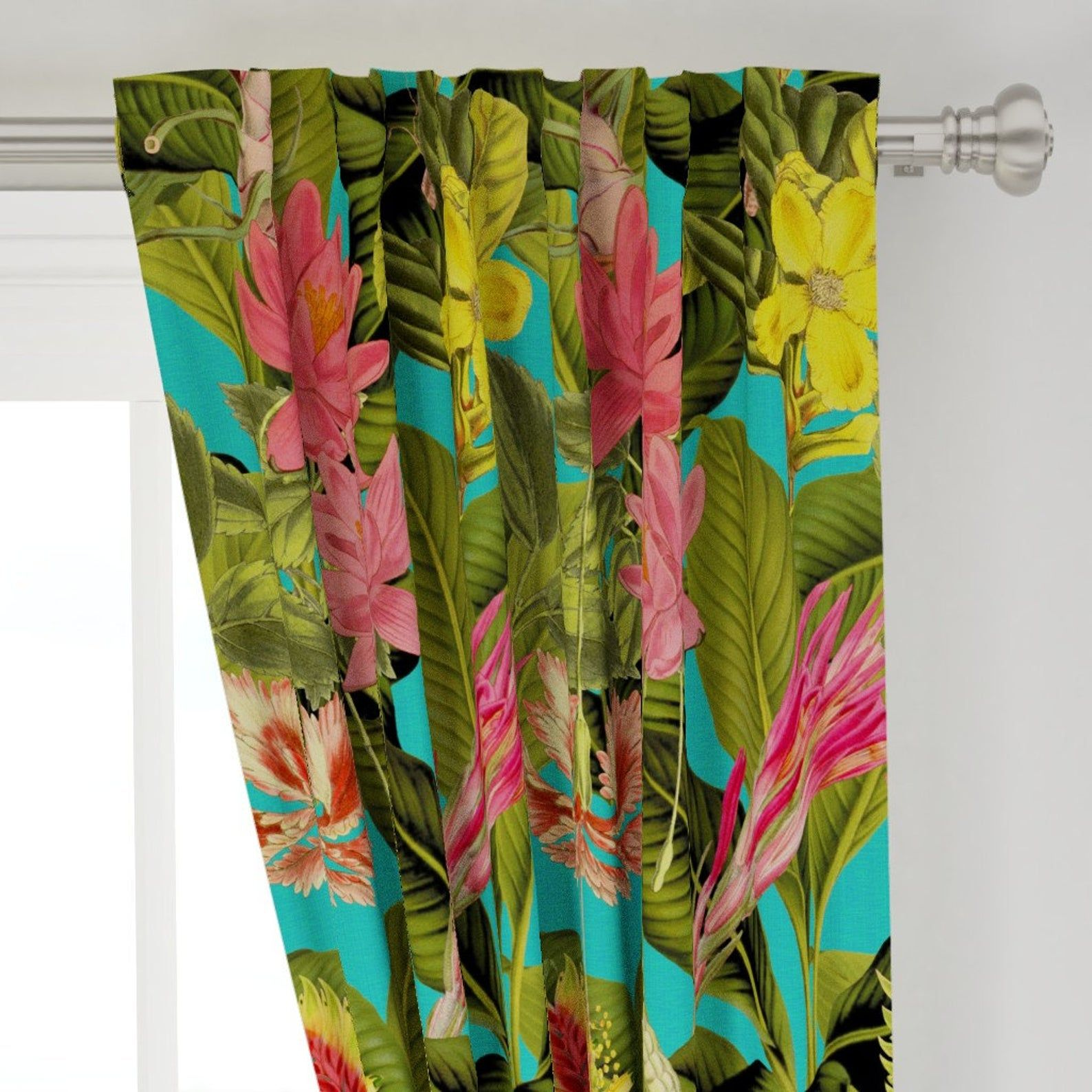Tropical Curtain Panel Palm In Palm Floral Fantastico By