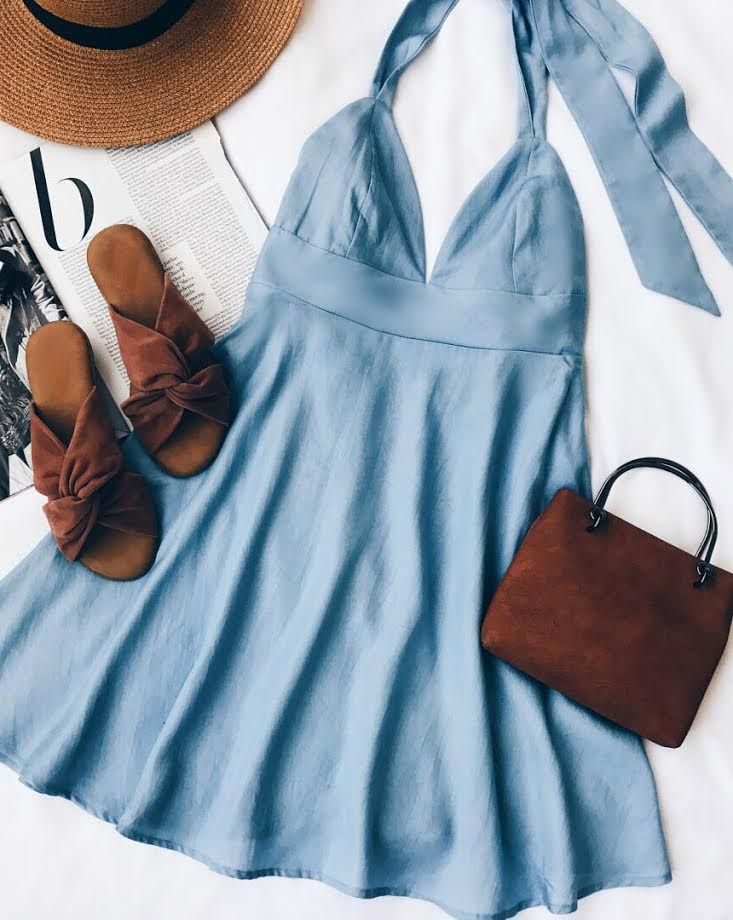 cf4f1bd4d32 I m Smitten Blue Chambray Halter Dress in 2019