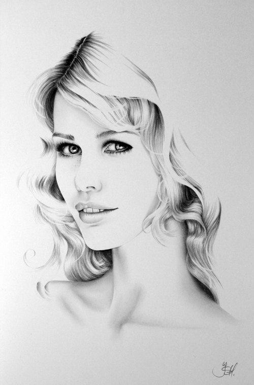 Claudia schiffer minimalism pencil drawing fine art for Minimal art vzla