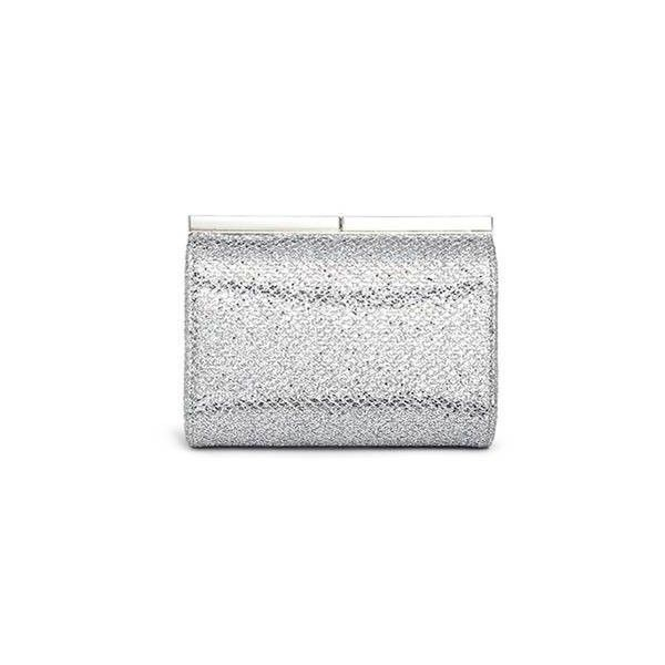 Jimmy Choo Cate bar clasp glitter mesh clutch ($805) ❤ liked on Polyvore featuring bags, handbags, clutches, glitter purse, jimmy choo, glitter handbag, mesh purse and jimmy choo clutches