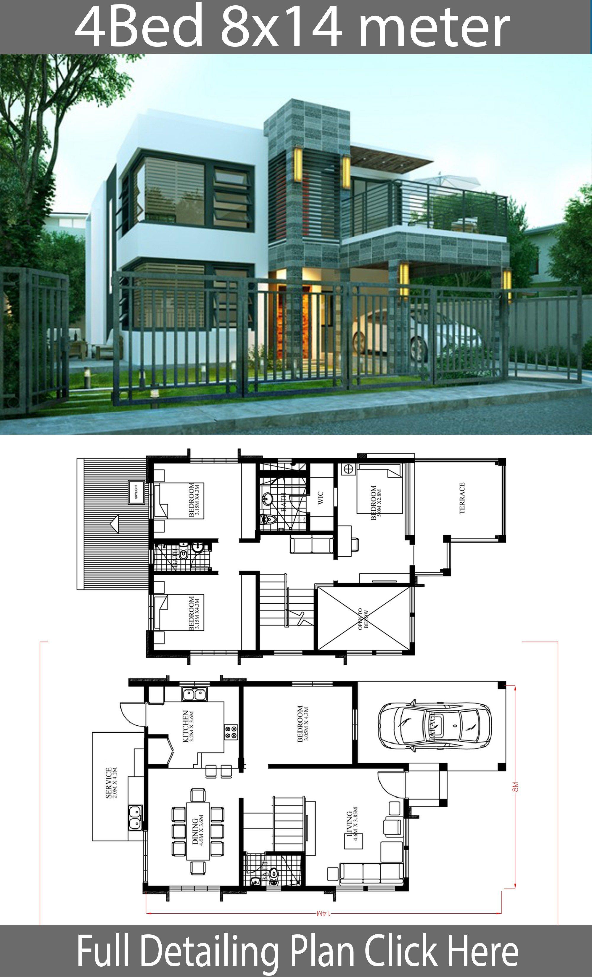 Plan De Maison Moderne home design plan 8x14m with 4 bedrooms | plan maison moderne