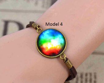Bracelets with galaxies cabochon 17+5cm by moonlightcreazioni. Explore more products on http://moonlightcreazioni.etsy.com