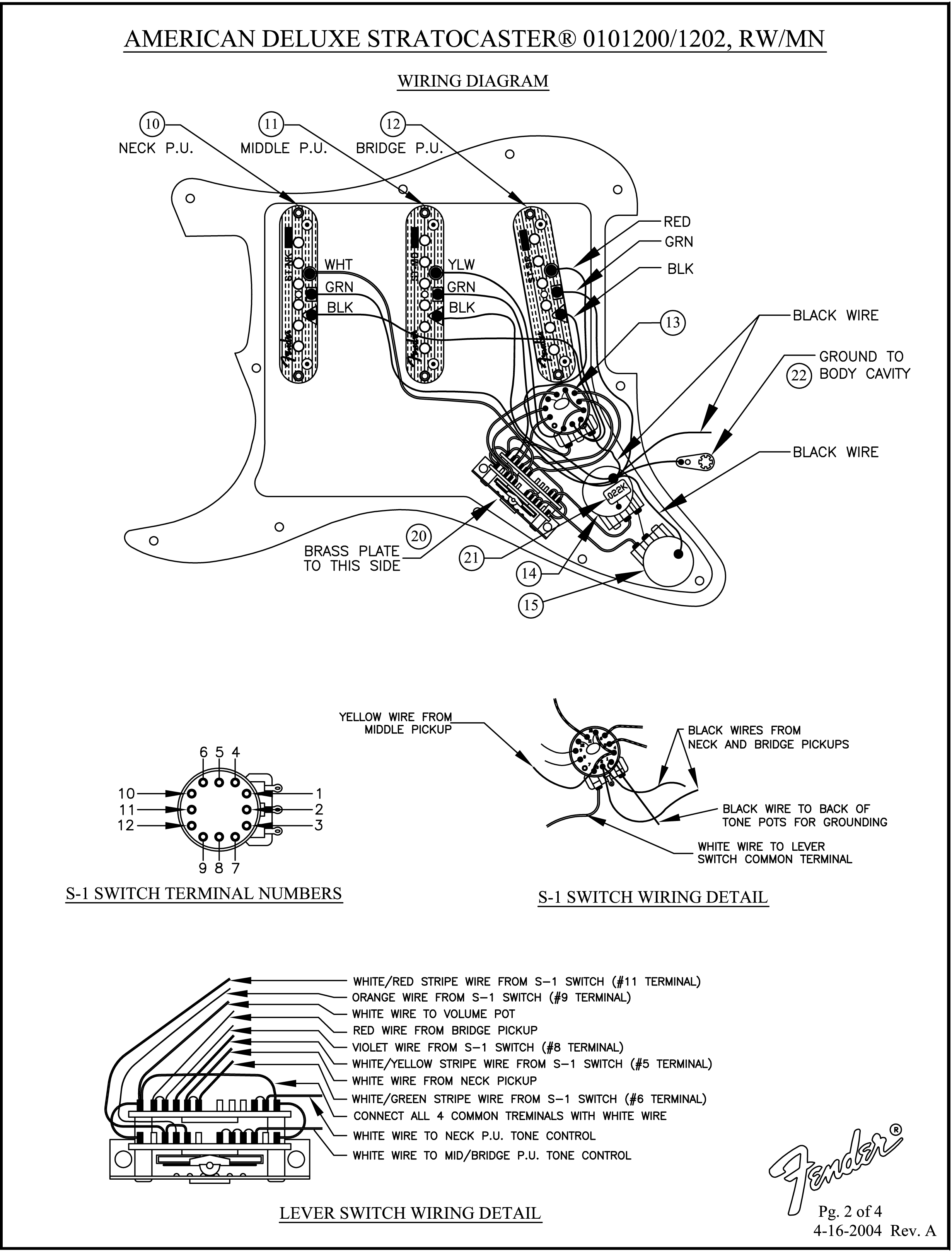 Fender American Deluxe Stratocaster 2009 wiring diagram in ... on fender guitar wiring diagrams, fender s1 switch schematics, mexican strat wiring diagram, fender stratocaster wiring-diagram, fender strat s1 diagram, fat strat wiring diagram, fender fat strat schematic, american deluxe strat wiring diagram, fender strat ultra wiring-diagram, fender stratocaster pickup wiring,