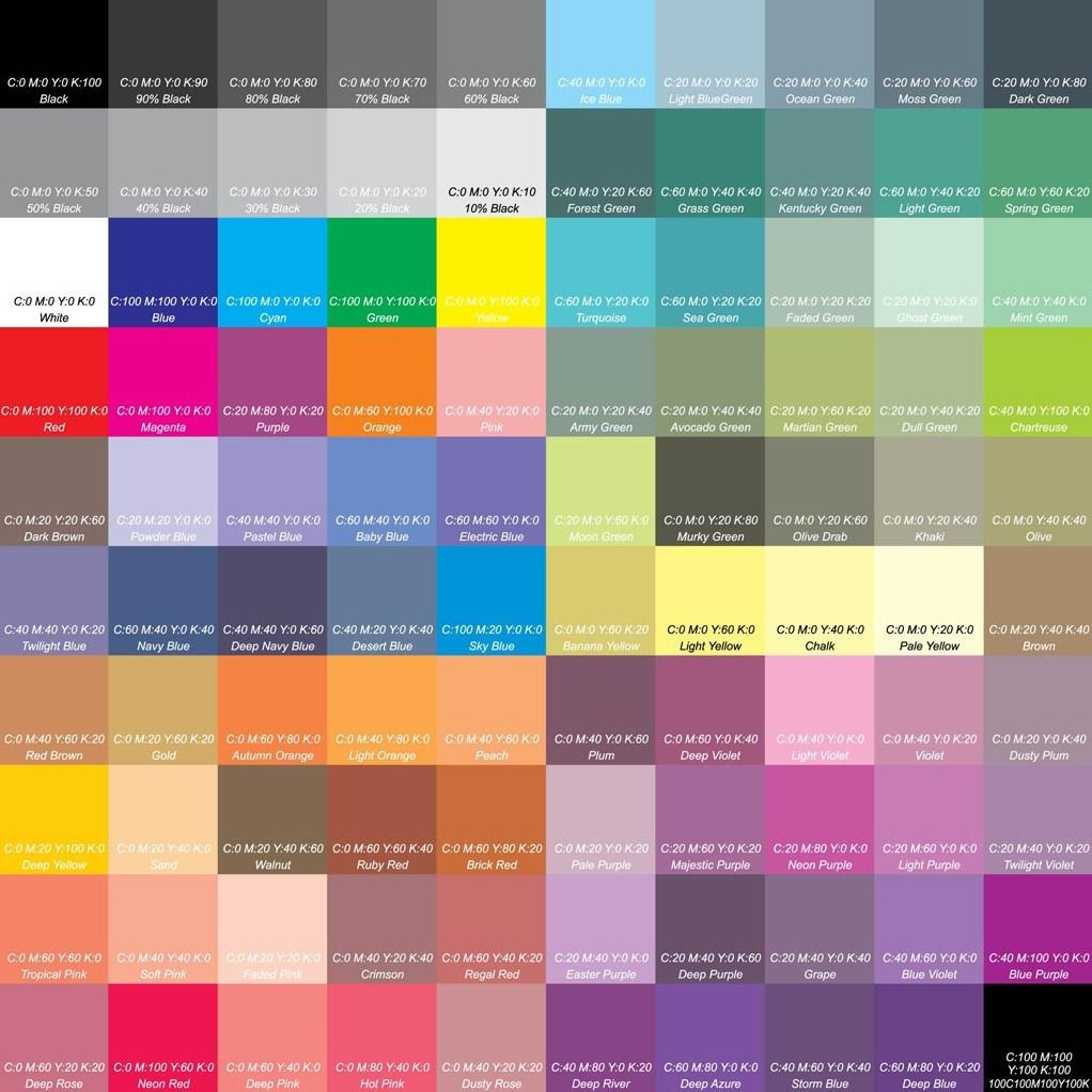 Previewg 10221022 color board pinterest cmyk color this cmyk cyan magenta yellow and key black color reference chart can be highly useful when you need a quick guide for choosing colors geenschuldenfo Choice Image