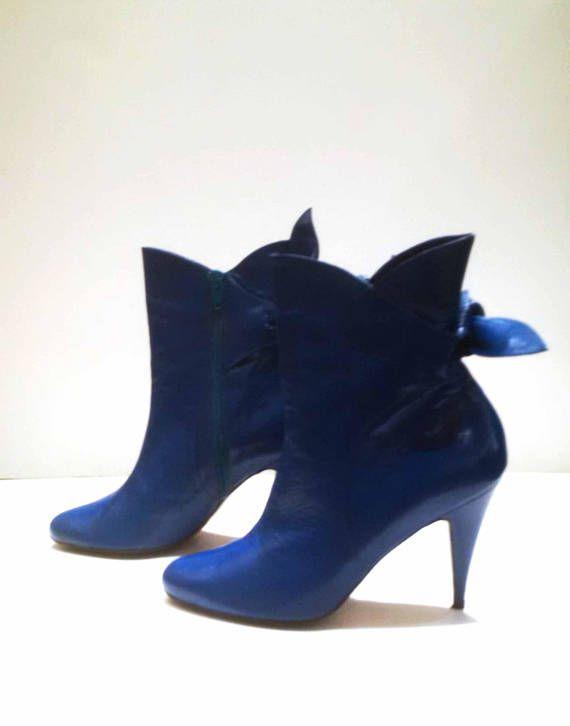 des années noeud bleu en électrique avec 70's Boots cuir sQdCthrx