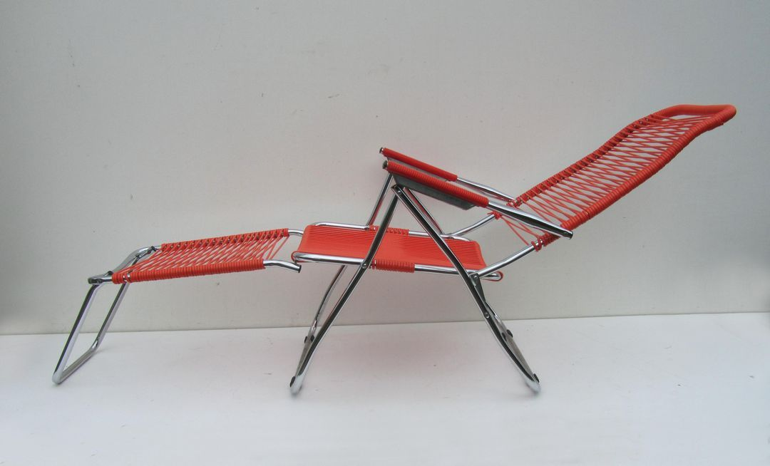 Strandstoel Met Voetensteun.Originele Seventies Spaghetti Ligstoel Tuinstoel Easychair