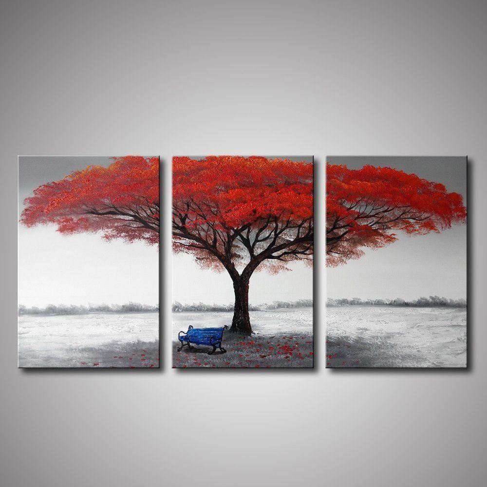 ARTLAND Canvas Wall Art 'Red Tree Agreement ' 3piece