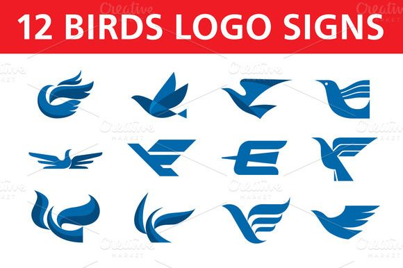 Check out 12 Birds Logo Signs by serkorkin on Creative Market