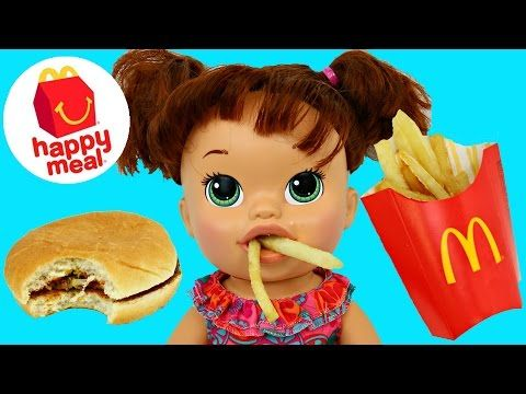 Baby Alive Eats Real Mcdonlads Happy Meal Burger Fries Open Minions Movie Prize Toy Burger And Fries Happy Meal Baby Alive