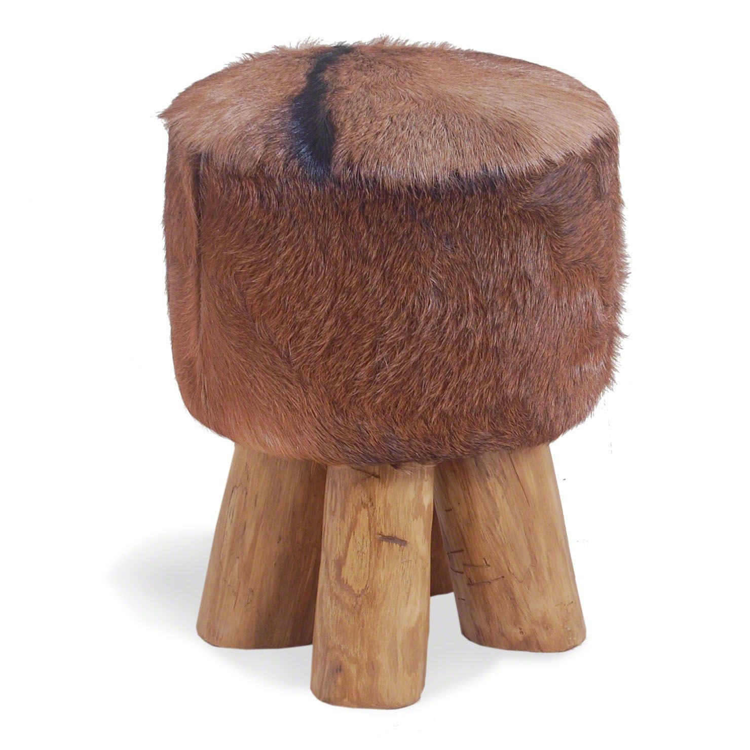 ACHICA | Bluebone Round Hide Stool