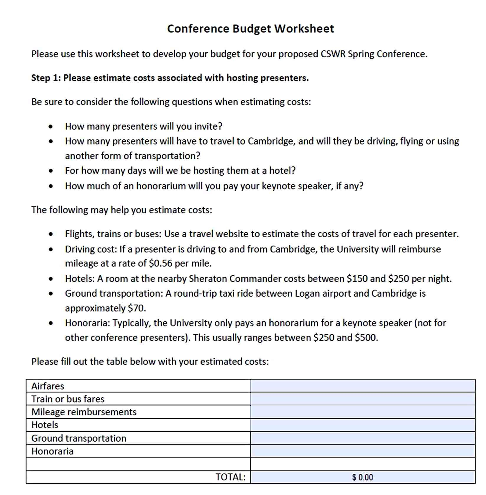 Conference Budget Template Budget Template Budgeting Budgeting Worksheets