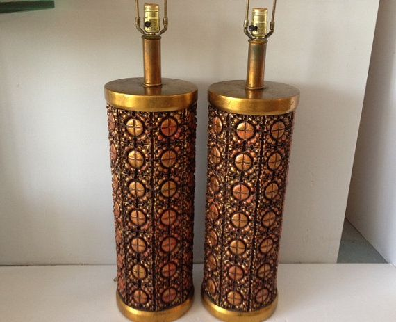 Large Pair of Mid Century Modern Lamps Signed by PipModern on Etsy