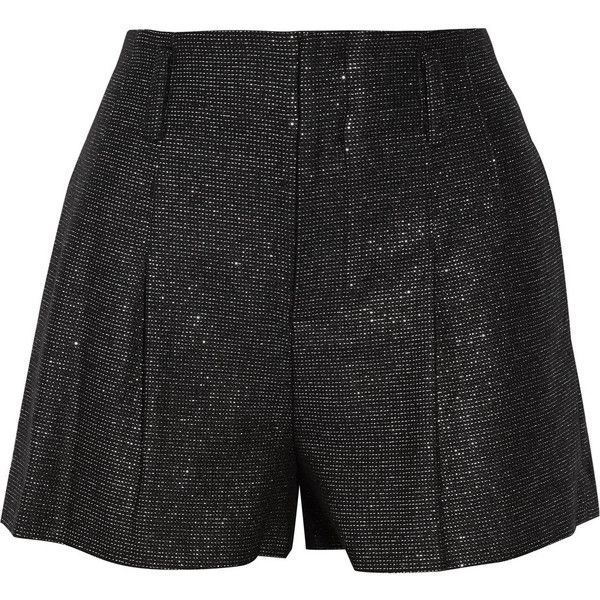 Alice + Olivia Pleated metallic tweed shorts (€150) ❤ liked on Polyvore featuring shorts, short, pants, black, bottoms, loose fit shorts, high rise shorts, high waisted short shorts, loose high waisted shorts and loose short shorts
