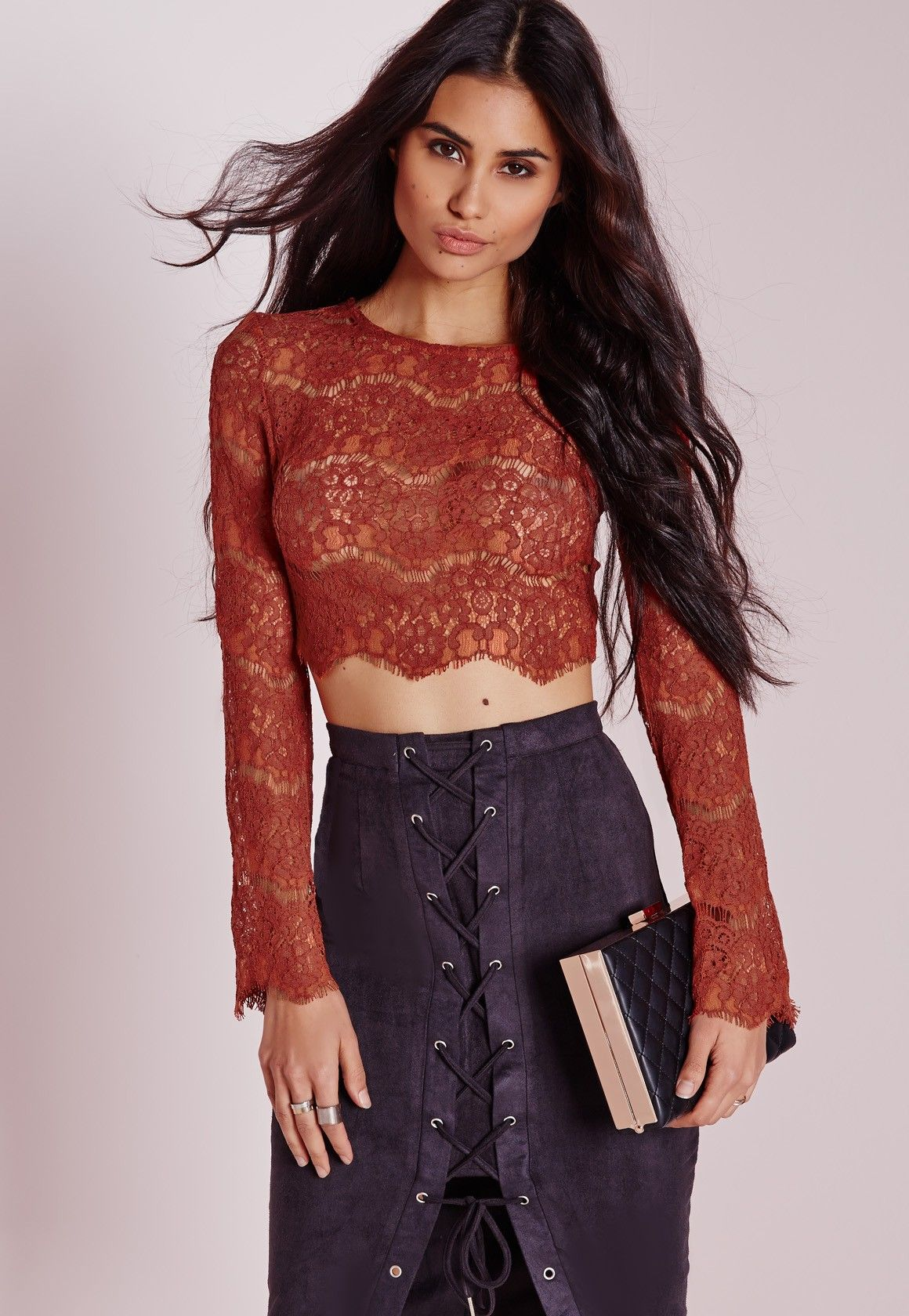 46970fb7592fc0 Missguided - Lace Bell Sleeve Crop Top Rust | Fashion | Crop tops ...