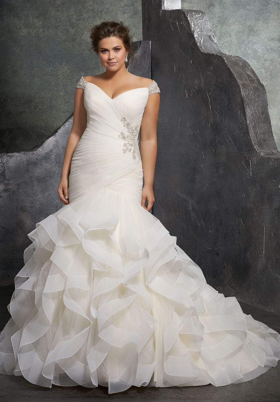 Mori lee kori offtheshoulder trumpetstyle bridal dress in