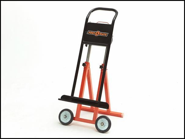 Rolling carrier helps you move and saw sheet materials more easily and safely.