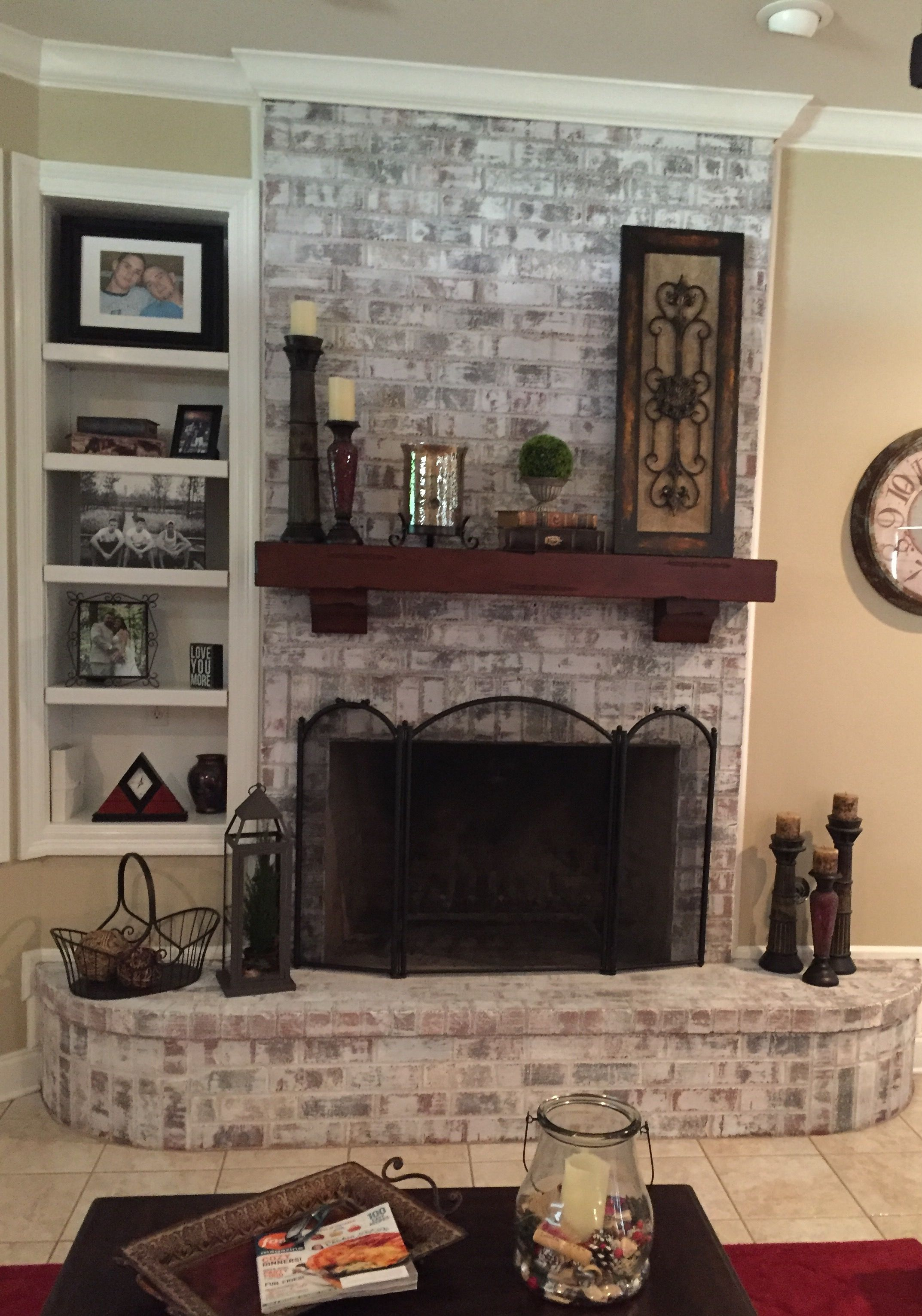 White washed brick fireplace fireplace in pinterest