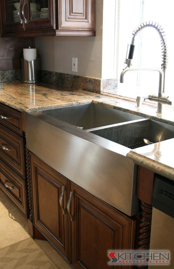 Huge Stainless Steel Sink With Two Sides For Dishes And A Separate