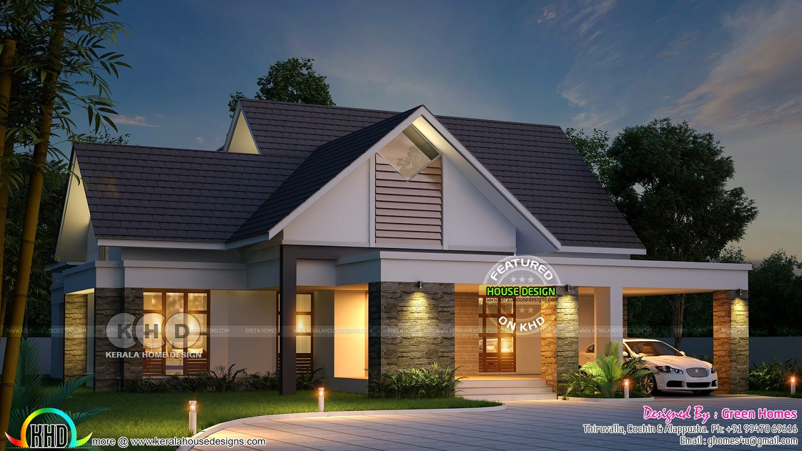 2490 Square Feet 3 Bhk Sloping Roof Home Kerala House Design