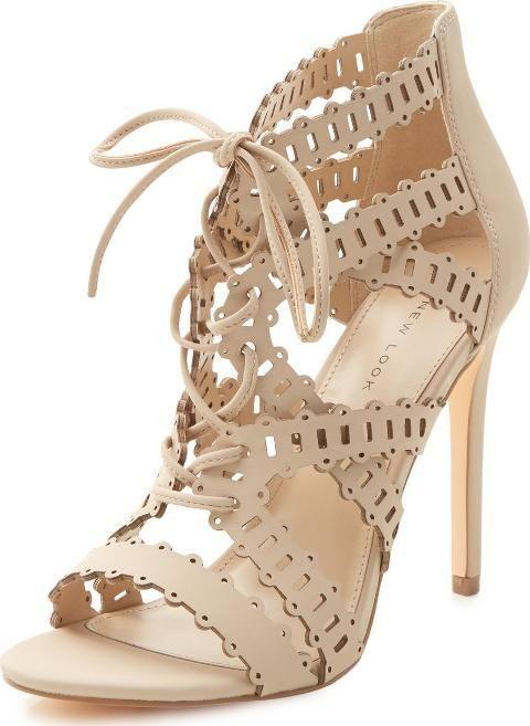 20edd32ea4e Nude Laser Cut Out Ghillie Heels. Laser cut out detail Lace up ...