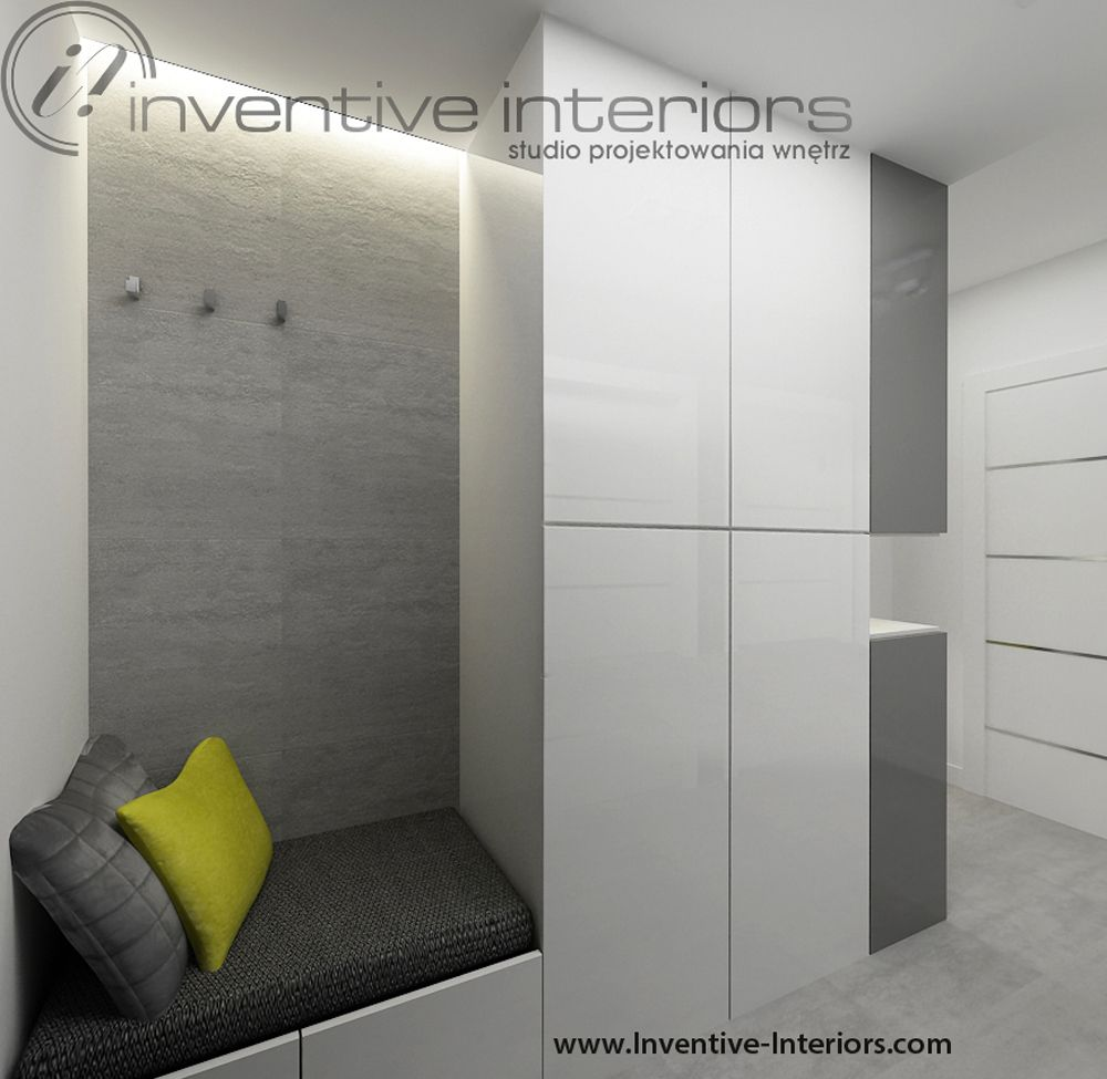 Projekt Przedpokoju Inventive Interiors Biało Szary