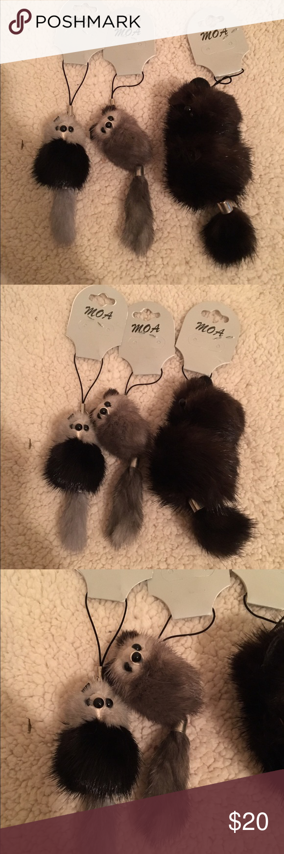 Faux fur charms NWT NWT faux fur animal charm accessory. To be used for a cell phone or handbag. All 3 for sale in this purchase Accessories Key & Card Holders