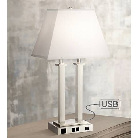 Possini Euro Amity Desk Lamp With Usb Port And Outlet 9g408 Lamps Plus Desk Lamp Bedroom Lamps Table Lamp