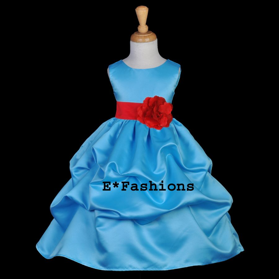 Turquoise blue red christmas flower girl dress m m t