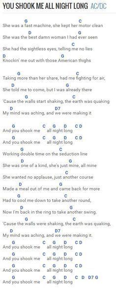 You Shook Me All Night Long - AC/DC at Chordie.com | Songs ...
