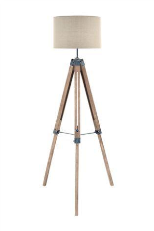 Alpine Tripod Floor Lamp Home Lounge Wooden Tripod