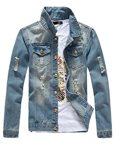 b276f54f2126f Men's Classic Ripped Motorcycle Denim Jacket With Hole #jackets  #mensjackets #apparel #shopinzar