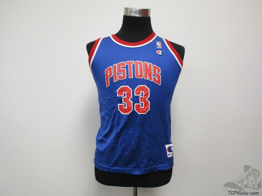 Vtg 90s Champion Detroit Pistons Grant Hill  33 Basketball Jersey sz Youth  L  Champion  DetroitPistons  tcpkickz b6cf110fb
